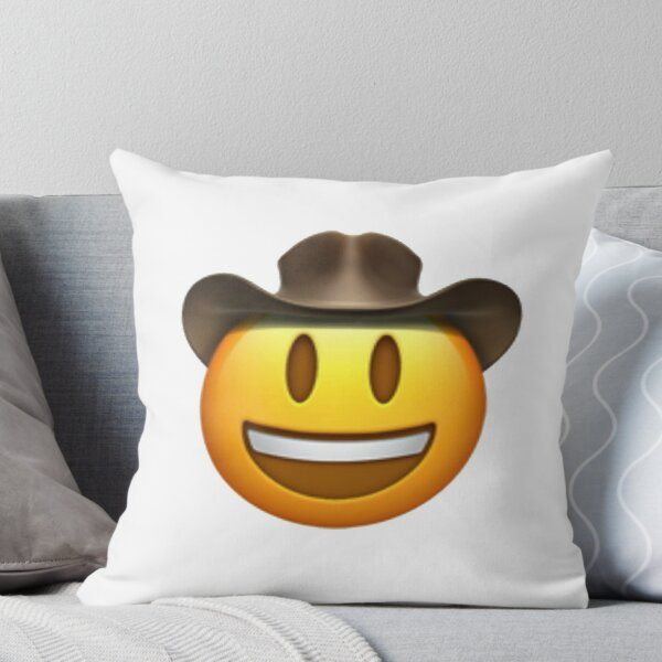 Cowboy Emoji Throw Pillow By Offensive Tea In 2020 Throw Pillows Designer Throw Pillows Emoji