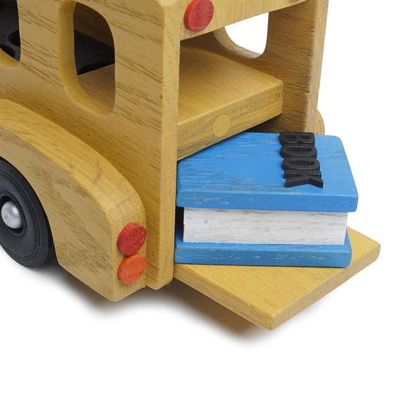 Natural Wooden Toy School Bus with Passengers