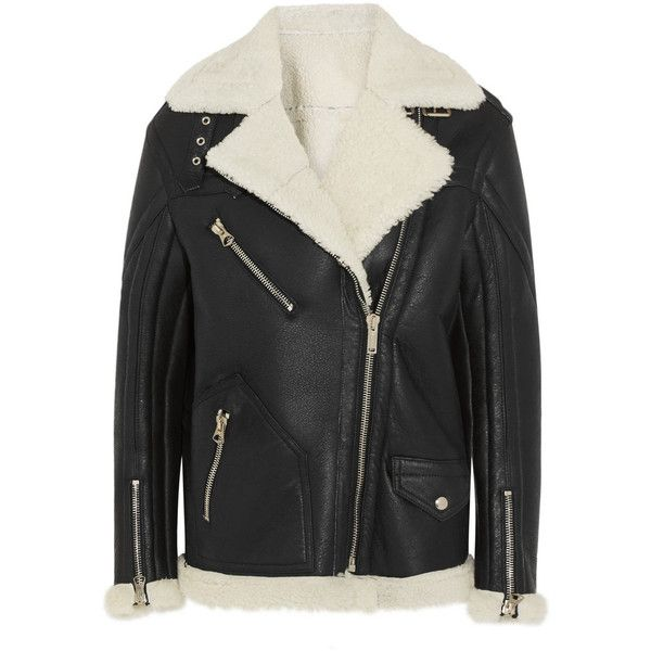 Golden Goose Deluxe Brand Fay oversized shearling coat ($2,725) ❤ liked on Polyvore featuring outerwear, coats, jackets, black coat, golden goose, black oversized coat, oversized coat and shearling coat