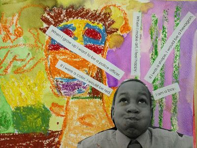 Mixed Media Self-Portraits. Discuss what and how artists tell us about themselves in their self-portraits. Students write about what makes them unique, take an expressive photo of themselves, and create an abstract watercolor resist that embodies their personality. Combine them all for a complete self-portrait. (1st)