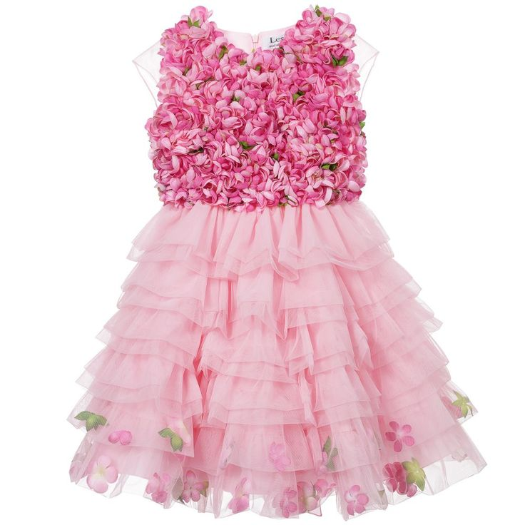 Lesy Girls Pink Tulle Dress with Flowers at Childrensalon.com