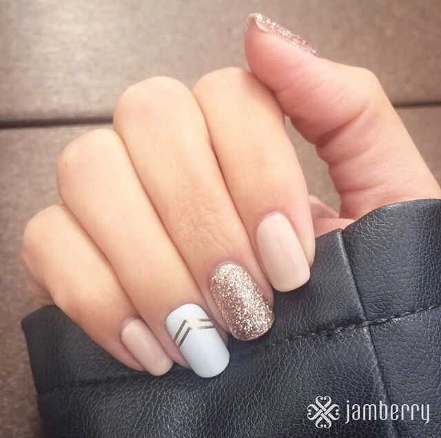 "New TruShine gel ""Latte"" and ""Party Dress.""  ""Gatsby"" accent wrap.  https://amandacolvin.jamberry.com"