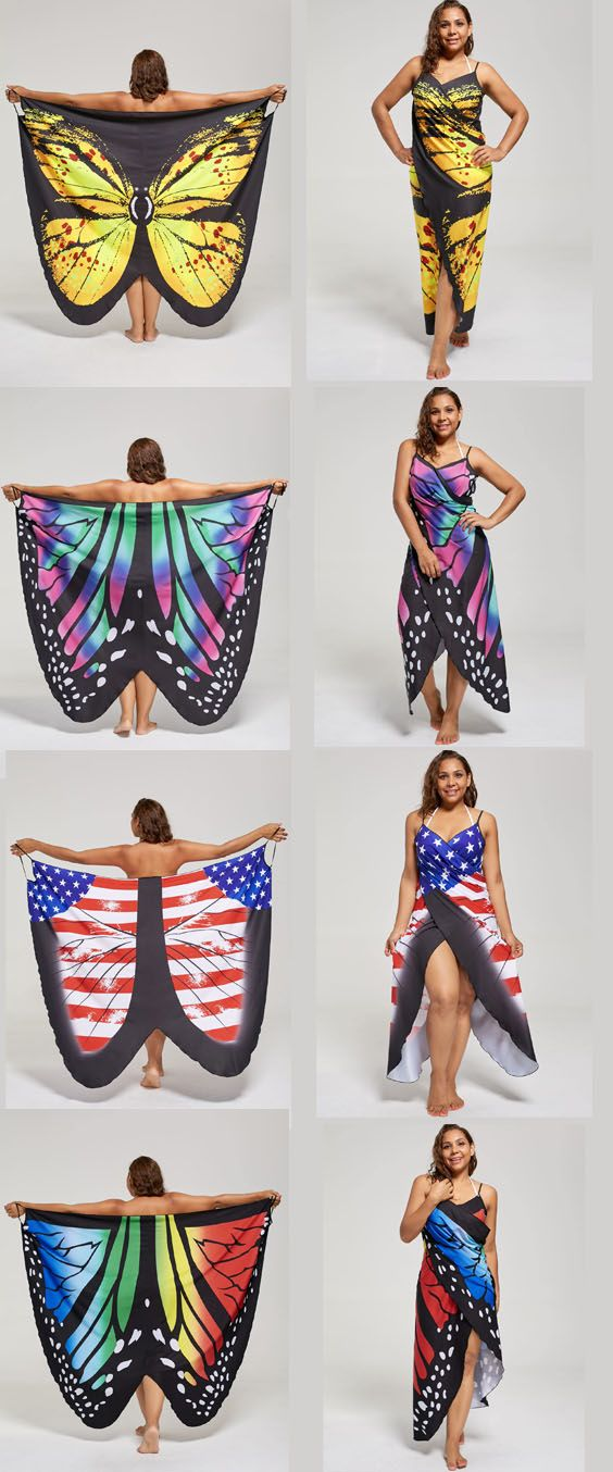 Plus Size Butterfly Wrap Cover Up Dress  wrap cover up dress. I'm thinking with black turtle neck and black pants could be a Halloween costume.