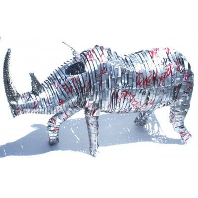 Rhino Coca Cola Sculpture Recycled Handmade Artwork