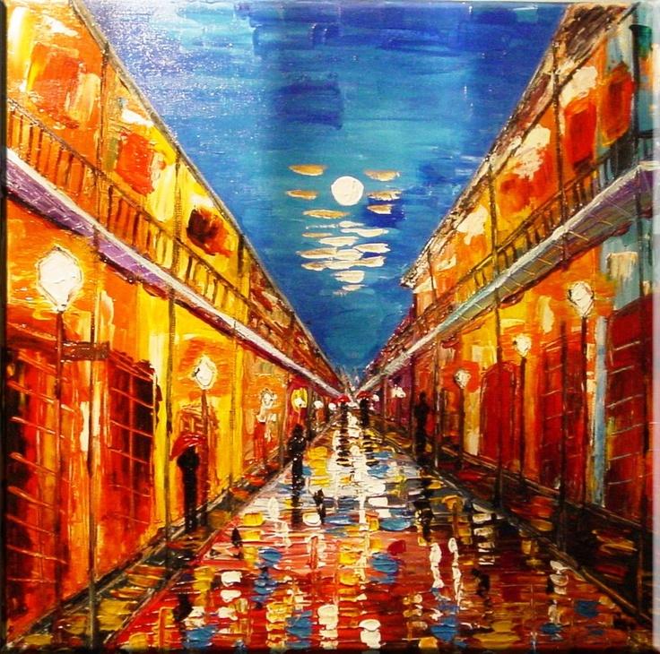 Night Rain Red Umbrella