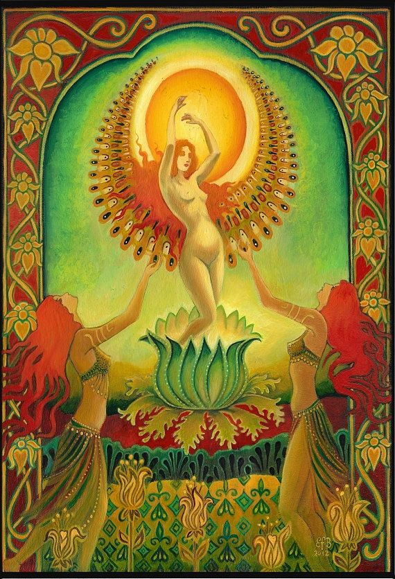 Sun:  Mother Isis Summer Solstice Solar Goddess, 5x7 Greeting Card, by Emily Balivet.