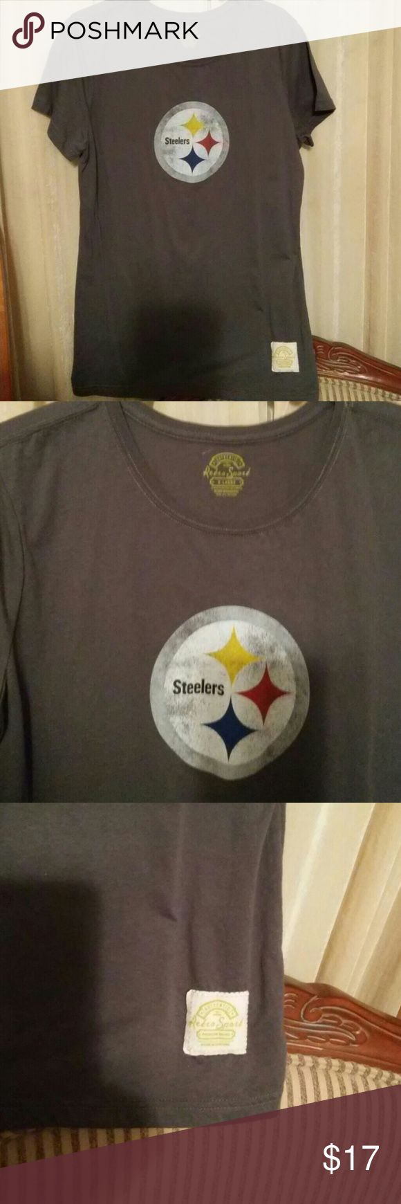 *CCO* Ladies distressed Steelers t-shirt This medium to dark gray, very soft t-shirt is a great find. It has that nicely cut neckline that we like and cap sleeves. It has been laundered but never worn. Junior fit. Retro Sport Tops Tees - Short Sleeve