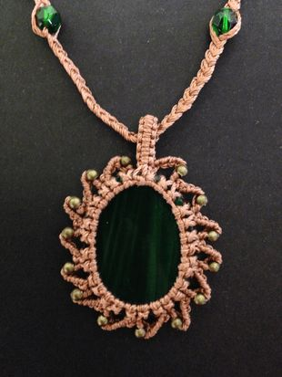 Macrame wrap glass necklace, copper-green