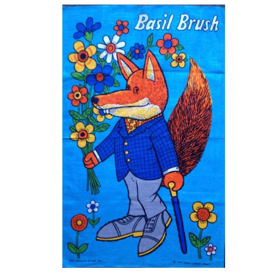 Vintage Basil Brush Tea Towel 1970s Unused by Retro68 on Etsy