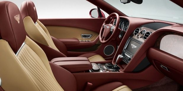 Bentley Continental GT V8 Convertible front cabin with red and tan leather interior   Bentley Motors