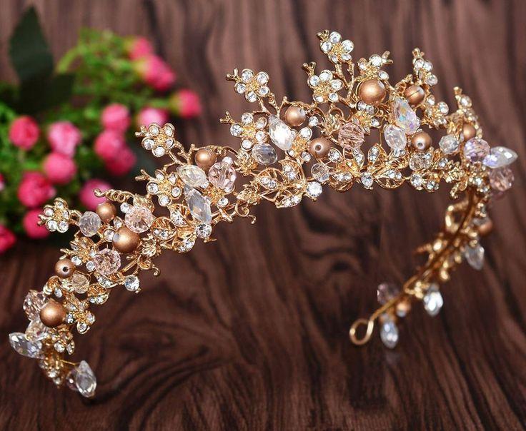 Strass Kristall Hochzeit Gold Perle Vintage Stil Krone Tiara Haarschmuck # …   – Hair Accessories