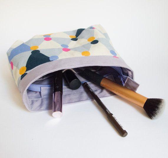 Roomy Makeup Bag lavender geometric shapes by MethodtoMadnessCo