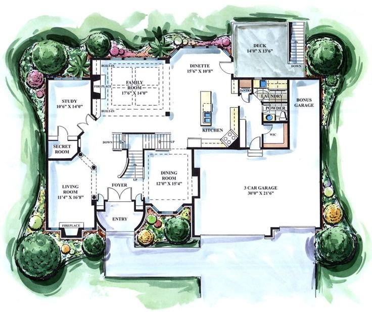 Main level features 2 story great room family room study for House plans with hidden rooms