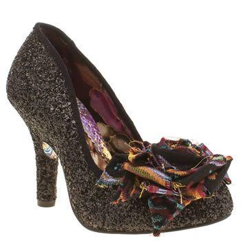£79 womens irregular choice black mal e rose glitter high heels