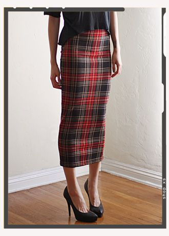 asos plaid pencil skirt