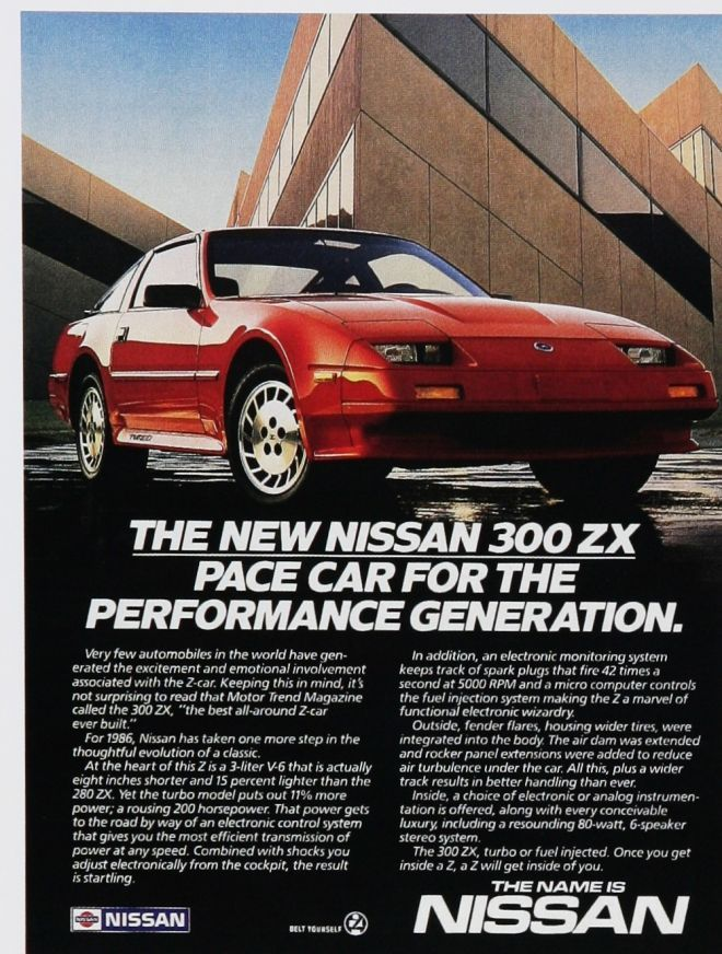 1986 Nissan 300 ZX ad.
