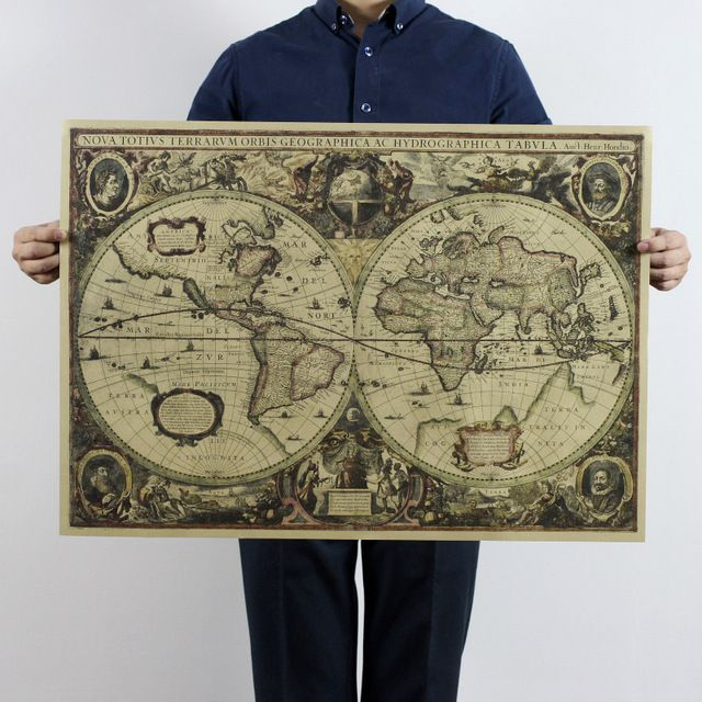 Mapa Do Mundo retro Náutico