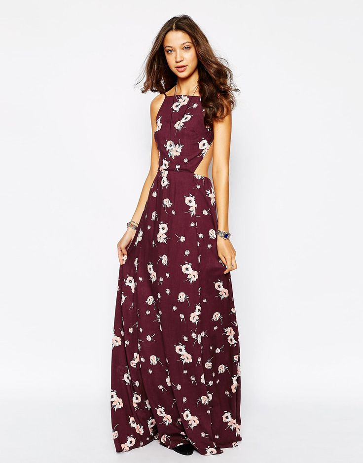 ASOS TALL EXCLUSIVE HIGH NECK FLORAL MAXI DRESS
