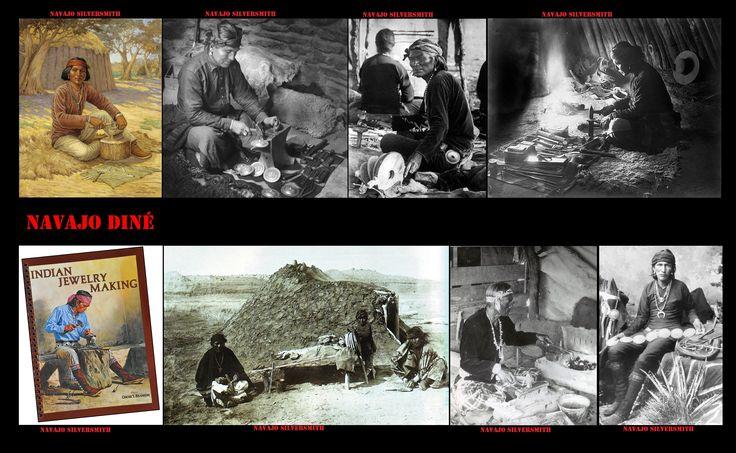 """I Navajo hanno iniziato a lavorare l'argento nel 19° sec. Delgadito o """"Old Smith,"""" (c. 1828-1918) potrebbe essere stato il primo Navajo ad aver imparato a lavorare l'argento da un argentiere messicano intorno al 1853. Con l'argento, gli artigiani Navajo, producono: fibbie, briglie, bottoni, anelli,  perline cave, orecchini, najas (ciondoli a forma di mezzaluna), braccialetti, croci, tabacchiere e conchas (sorta di grosse borchie per decorare le cinture) in uno stile ispano-moresco."""