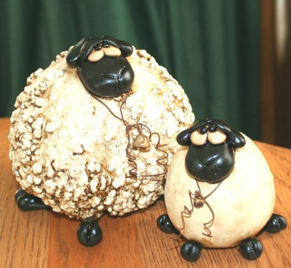 Primitive Gourd Sheep and lamb by gourdsrus on Etsy
