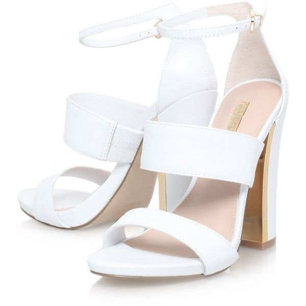 White High Heel Sandals ($60) ❤ liked on Polyvore featuring women's fashion, shoes, sandals, heeled sandals, white sandals, white shoes and white heel sandals