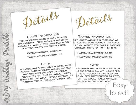 14 Best Details Card + Information Card Templates Images On   Invitation  Information Template  Invitation Information Template