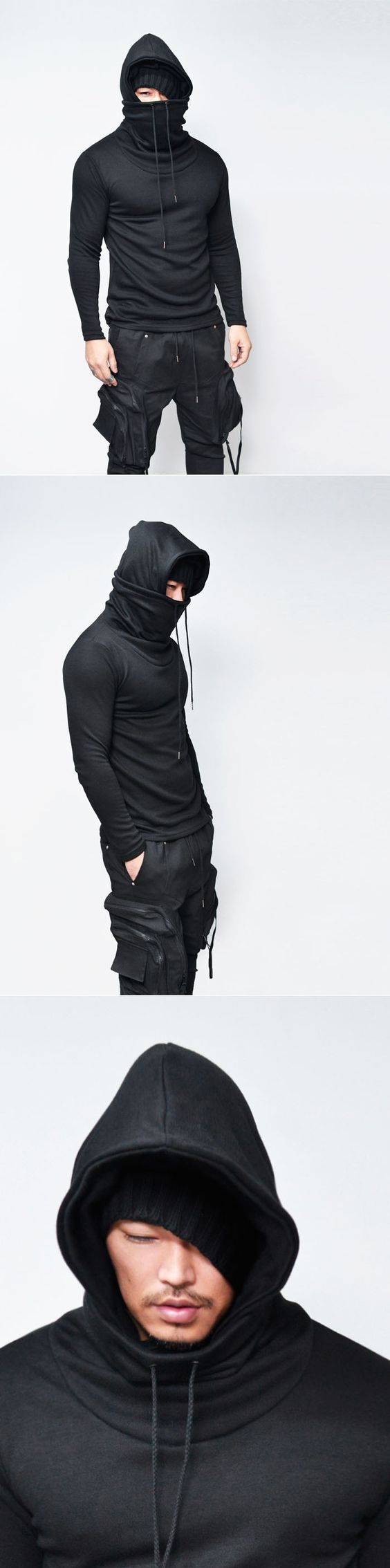 Tops :: Hooded Ninja Turtle Tee-Hoodie 159 - Mens Fashion Clothing For An Attractive Guy Look