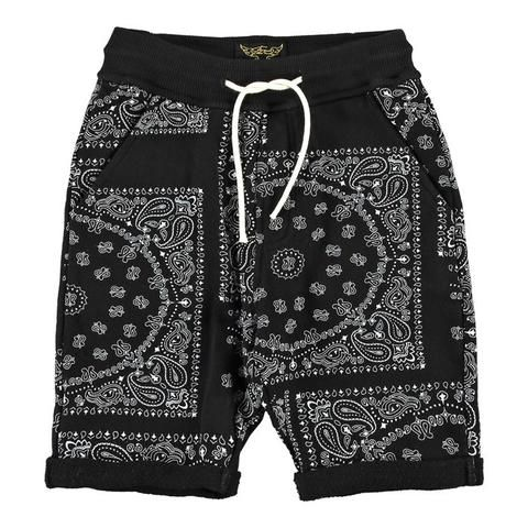 Finger In The Nose Grounded Boys Fleece Comfort Fit Bermuda Shorts Black Bandana