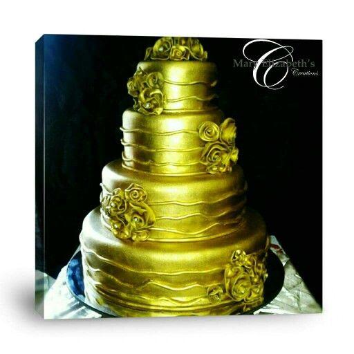 Crème Brûlée Golden Wedding Cake - Caramel cake filled with fresh caramel & white chocolate ganache.