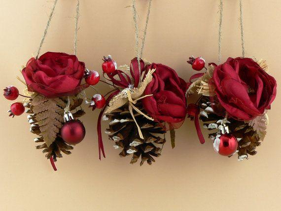 Set di 3 Pine Cone addobbi albero di Natale ornamenti di ArtKristy