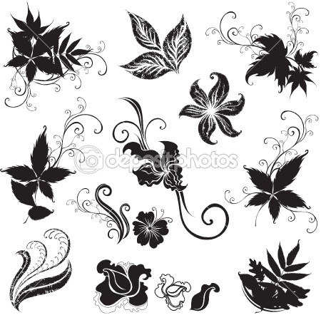 Set of black floral design elements by kynata - Stock Vector