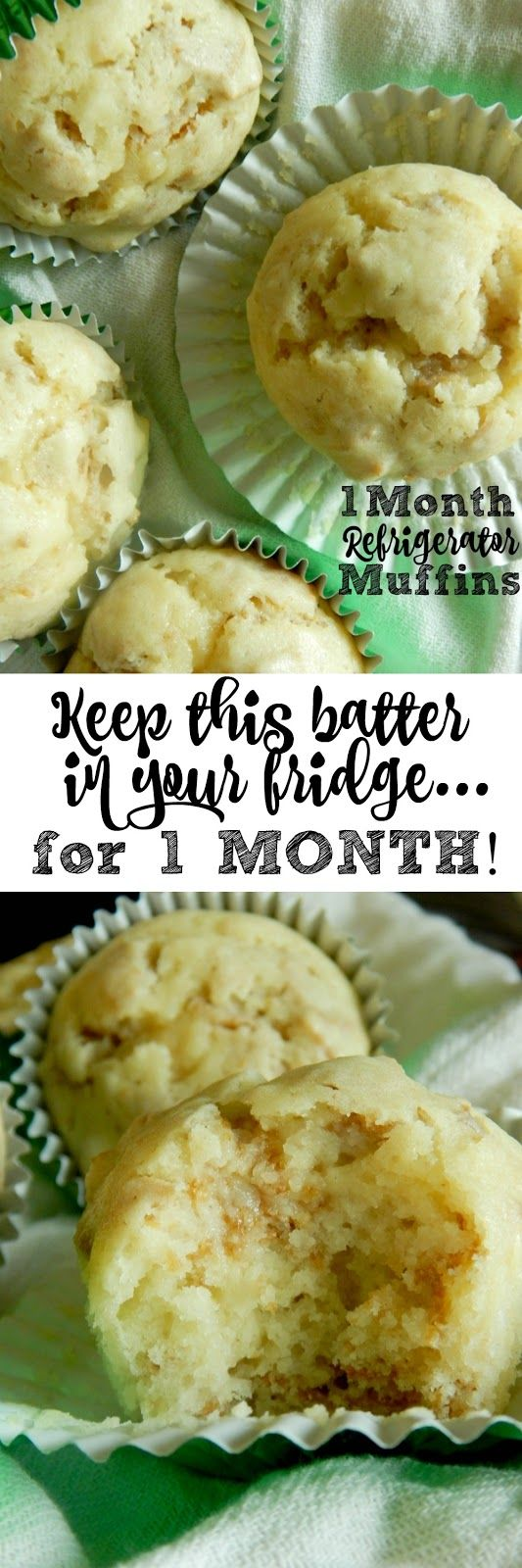 1 Month Refrigerator Muffins...this batter can stay in the fridge for up to one month!  Tangy, sweet and so incredibly soft, the best muffin I've made to date!