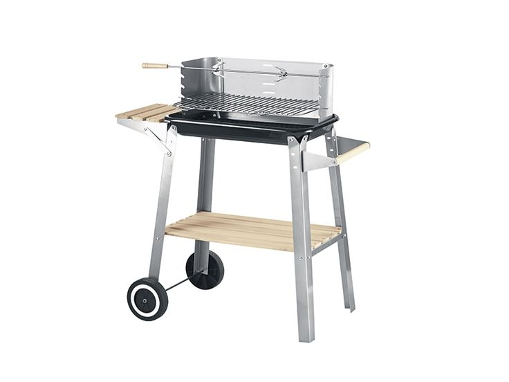 Barbecue con carrello - spiedo per griglia da 70 cm con manico in legno - Griglia cromata regolabile su 5 altezze Dimensioni: ca. 84 x 86 x 45 cm (L x A x P) - 2 ruote e comoda maniglia per il trasporto  EURO 39 COMPRESO TRASPORTO
