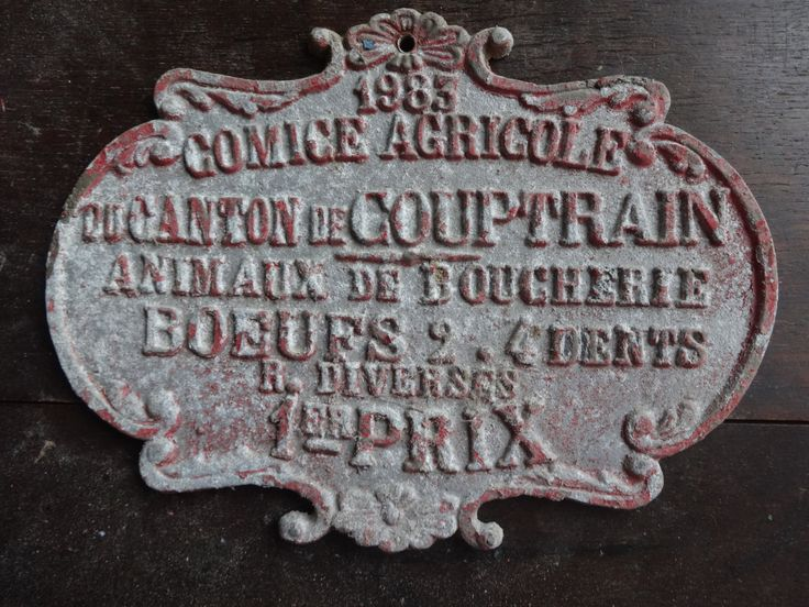 Vintage French agricultural farming beef cattle cow livestock winner red metal prize trophy plaque agriculture farm 1983 Purchase in store here http://www.europeanvintageemporium.com/product/vintage-french-agricultural-farming-beef-cattle-cow-livestock-winner-red-metal-prize-trophy-plaque-agriculture-farm-1983-2/