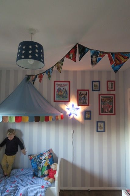 The LuxPad - Children's Bedroom Decor Ideas, Lara 2, circus theme, kids room, bunting, polka dot light