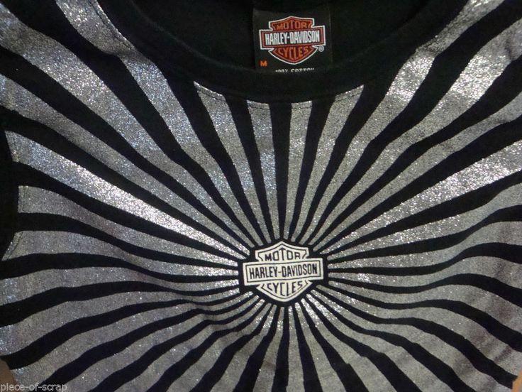 HARLEY DAVIDSON Tank Top shirt MEDIUM M Silver Sparkle Festus Ladies Sleeveless #HarleyDavidson #GraphicTee #harley
