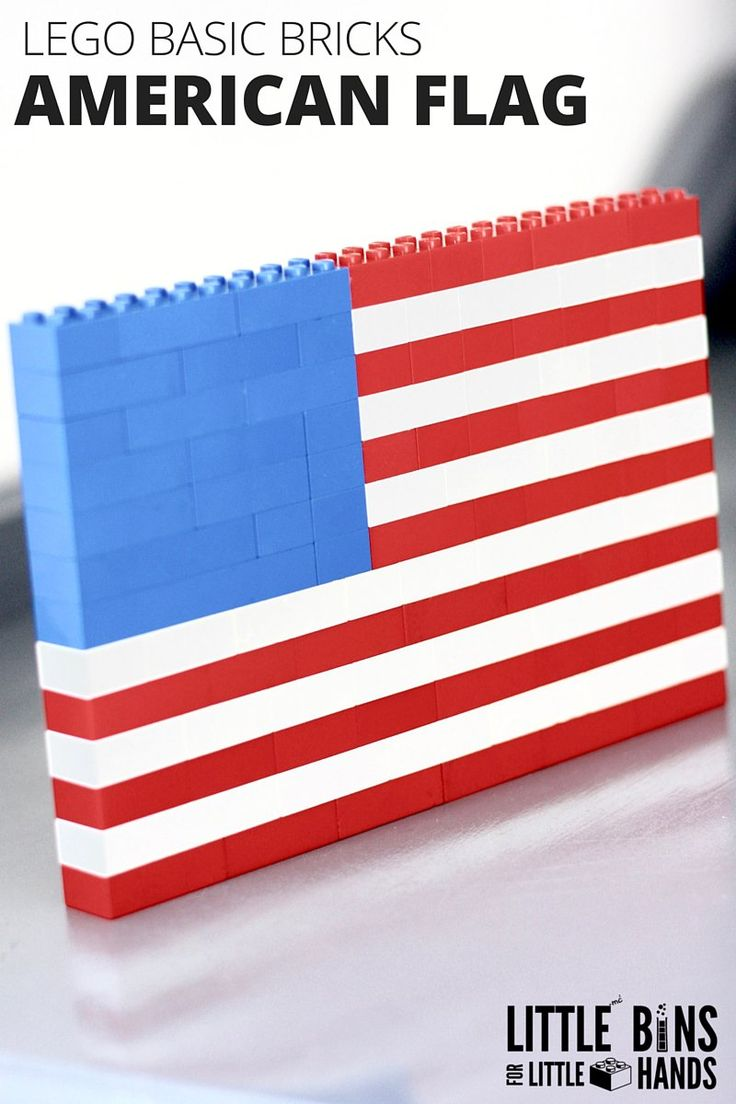 LEGO American Flag Building Activity with Basic Bricks for Kids STEM. LEGO flag ideas for patriotic holidays including Memorial Day, Independence Day, Patriot's Day and Veterans Day. Also included is a little bit of American Flag history to start a discussion with kids on the meaning of the flag's colors, stripes, and stars.