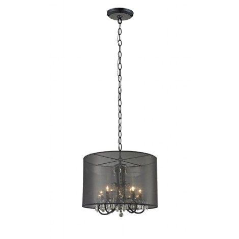 Luminaire suspendu noir, abat jour organza noir, idéal pour salle a manger, ilot, entrée et escalier.