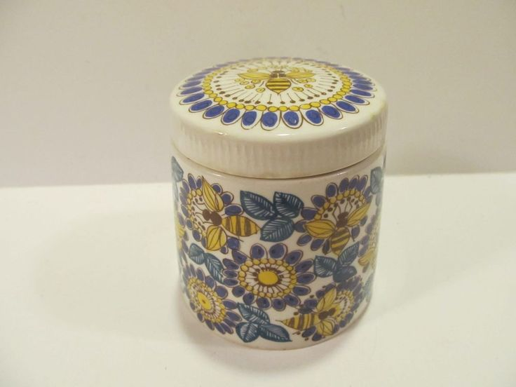 RARE VINTAGE FIGGIO FLINT NORWAY COVERED HONEY JAR BEES AND FLOWERS