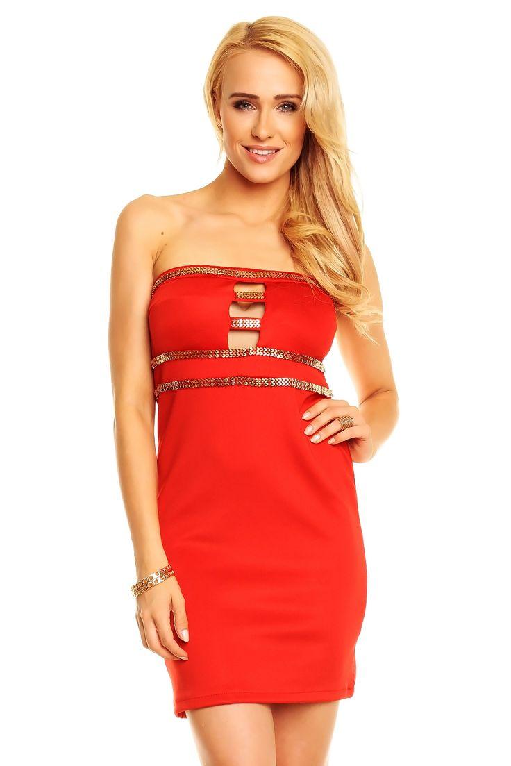 Ekskluzywna sukienka koktajlowa tuba czerwona