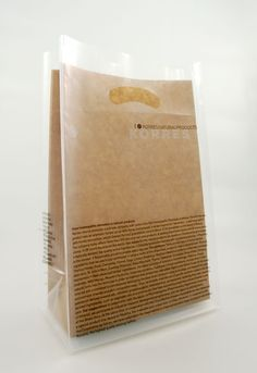 K2 Design // clear plastic bag over brown paper bag