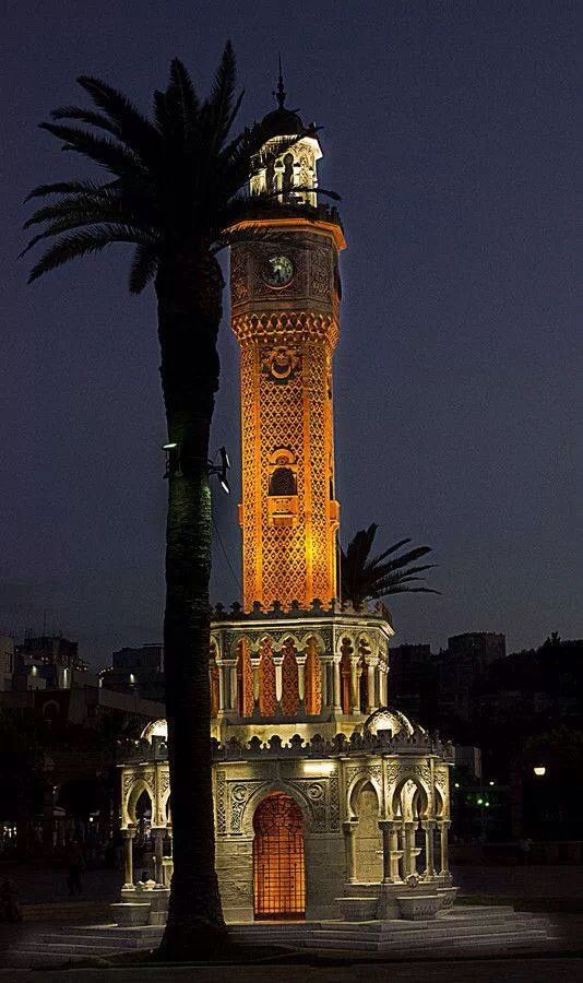 Night view of clock tower.  Izmir, TURKEY