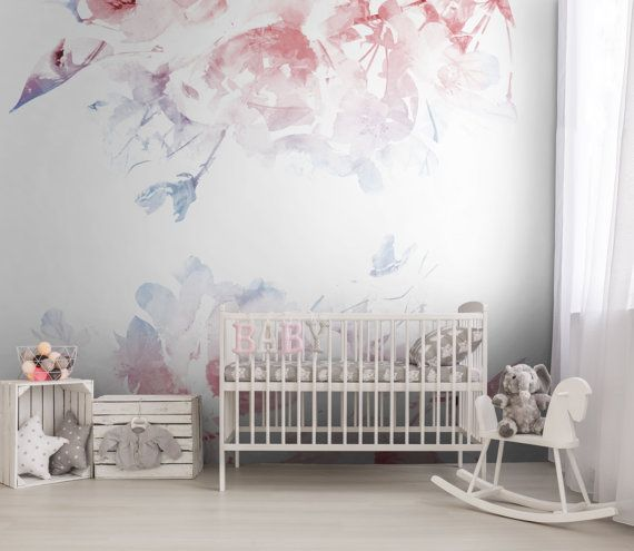 SERENITY, ROSE QUARTZ Nursery Floral Removable Wallpaper, Floral Decor,  Floral Wall Mural, Temporary Wallpaper #29 Part 76