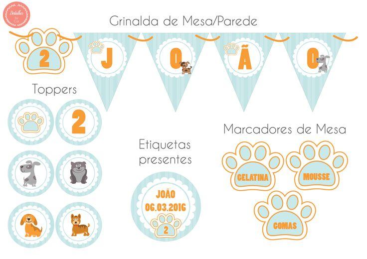 Decoração para festa de Aniversário e/ou Batizado Tema Cães totalmente personalizada