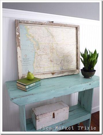 Love the framed map idea inside a window frame!!!