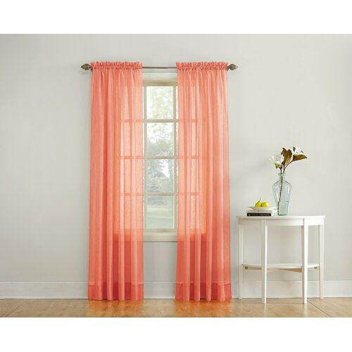 Emily Solid Color Sheer Rod Pocket Window Single Curtain Panel Panel Curtains Curtains Voile Curtains