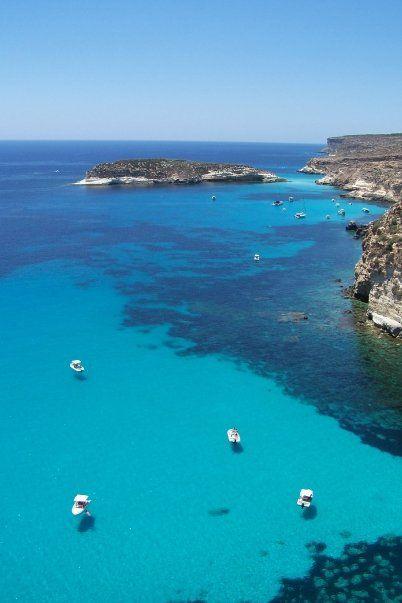 Lampedusa, the largest island of the Italian Pelagie Islands. Lampedusa, Sicily, Italy Agrigento