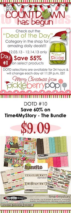 Time to shop for DOTD #11! Today you can save 60% on Time4MyStory - The Bundle! Get this entire collection for just $9.09! See all of today's deals at https://www.pickleberrypop.com/shop/home.php?cat=112