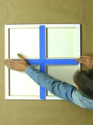 a man tapes together 4 canvases from michaelslook at his amazing idea for your wall - Home Decor Pic