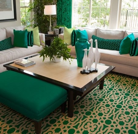 Bold Emerald Green Accents Add Drama To An Otherwise Traditional Neutral Living Room This